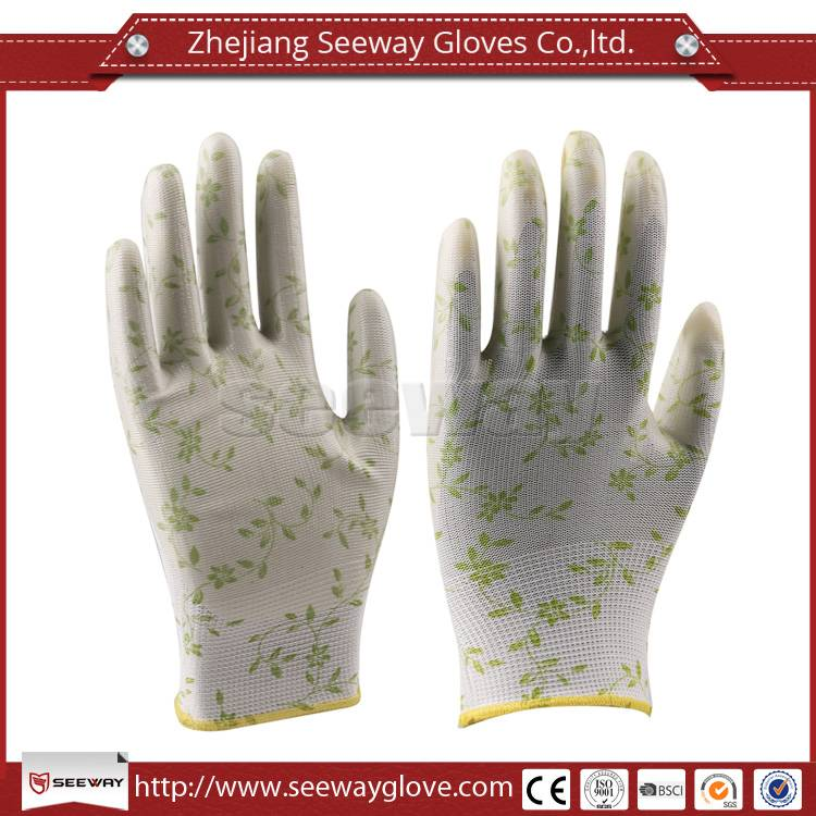 SeeWay PU Coating Palm Green Leaves Printing Garden and Household Work Gloves