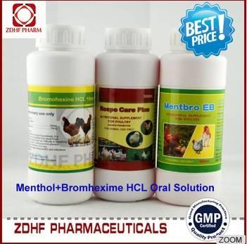 Veterinary medicine bromhexine menthol oral solution