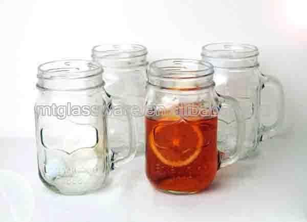 16oz clear glass mason jars storage jar with lid and straws
