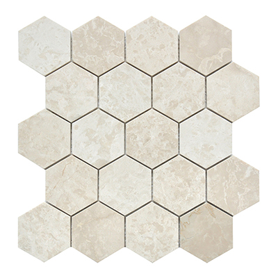 hexagonal beige natural stone tiles for kitchen backsplash