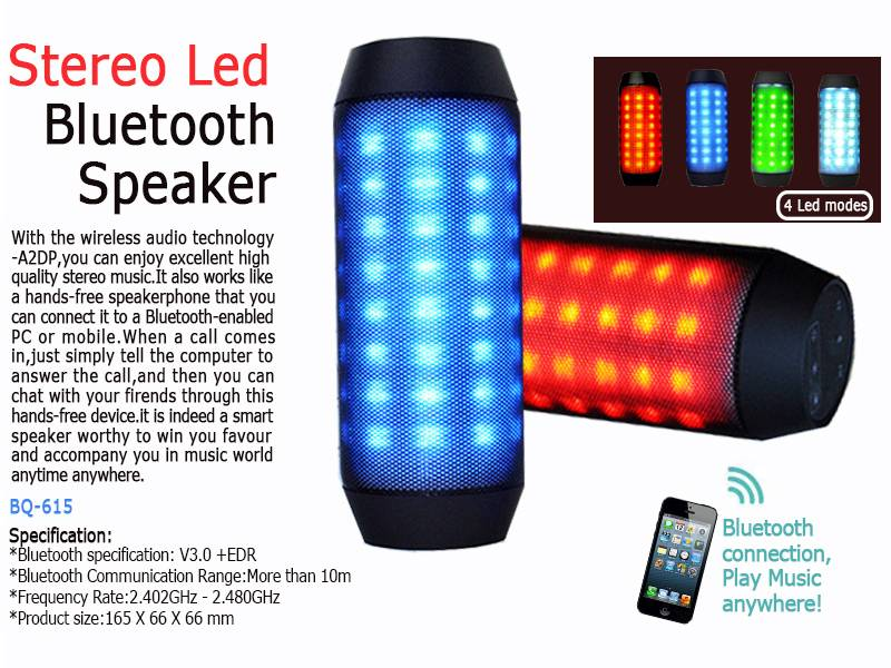Wireless Portable MP3 Bluetooth Speaker with LED Light