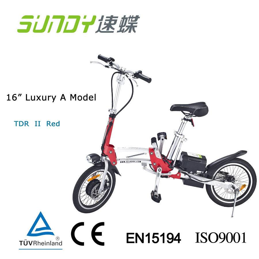16 Folding Electric Bicycle duo disc brake-Red