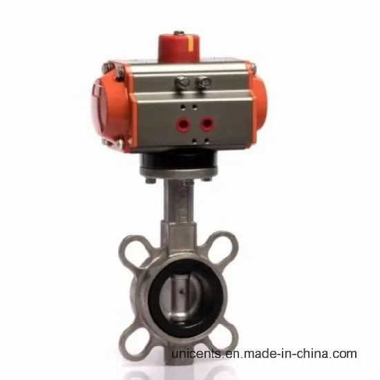 Pneumatic Actuator SS304/316L Stainless Steel Butterfly Valve
