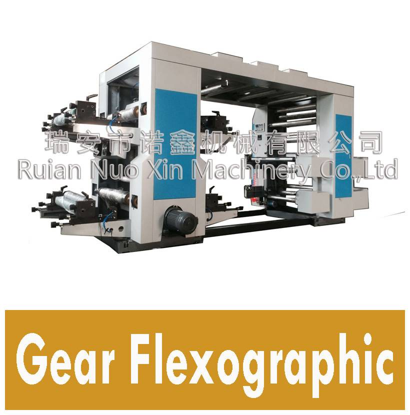 Helical gear drive 4 color flexographic printing machine