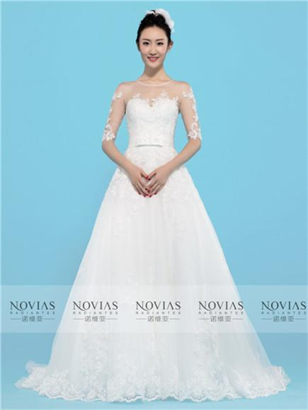 1/2 Sleeve Lace Applique Illusion Lace Bace Wedding Gown