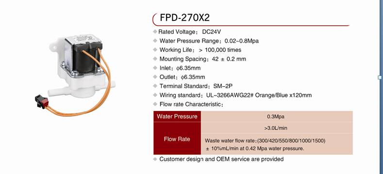 FPD-270X2 solenoid valve with waste water flow