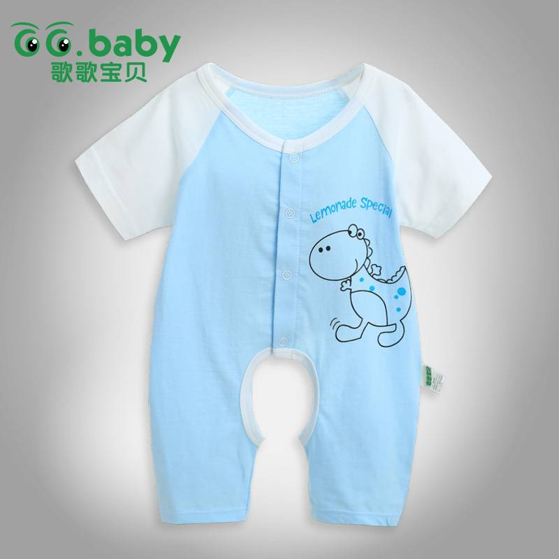 Summer Short Sleeve Newborn Clothing Unisex Cotton Baby Body Suit & Baby Girl Jumpsuit Blue