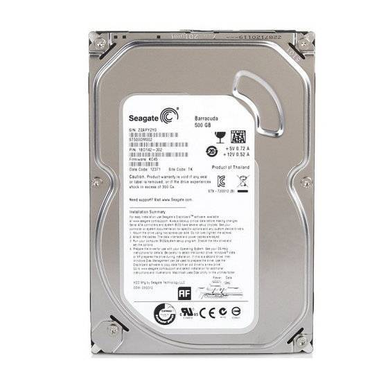 Seagate Barracuda Desktop 6Gb/S 500GB Internal Hard Drive Disk