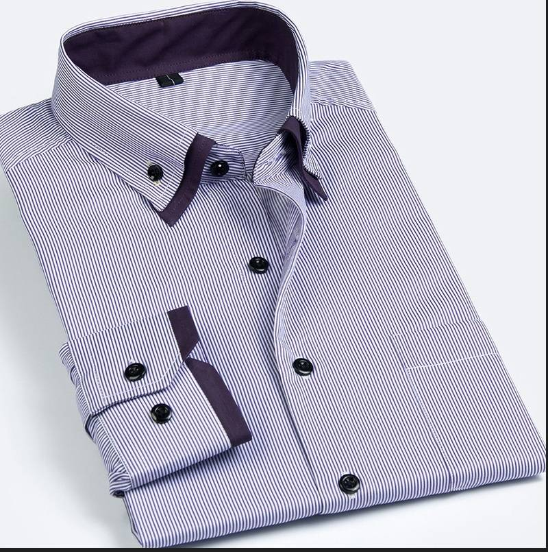 men's double collar shirt / button-down shirt