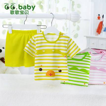 NEW Striped Summer Baby Sets 100%Cotton Babies Girl Boy Short Sleeve Baby T-shirt Shorts Suits