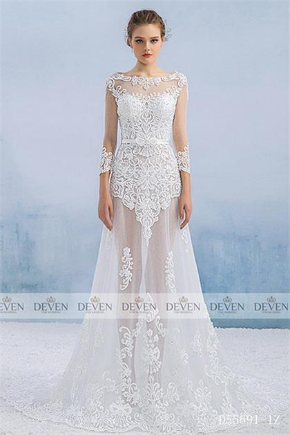 Long Sleeve Lace Applique Overskirt A-Line Gown