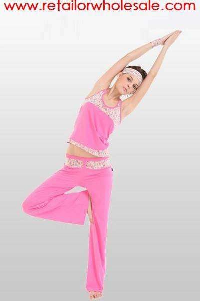 Wholesale Fitness Slim Pants & Back Hole Vest Top Yoga Clothes Set