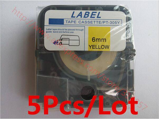 Tube Printer label tape Cassette White LM-PT305Y Yellow For electronic lettering machine LM-380A / E