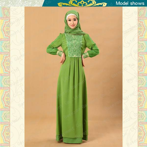 2013 Islamic clothing embroidered knitted muslim ladies abaya MF19333