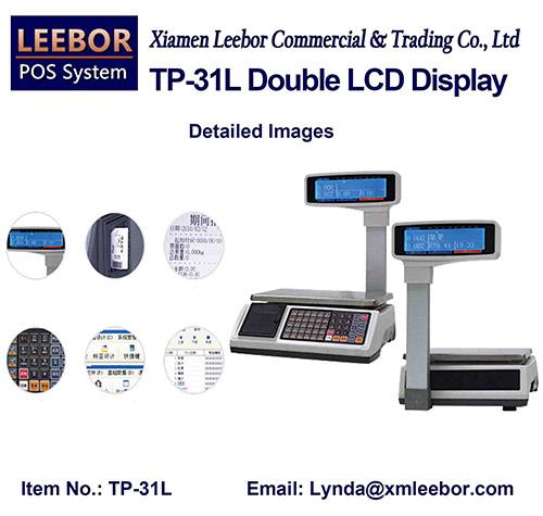 Supermarket Price Computing Scale, Cash Register Multi-language LCD Display Platform Weighing System