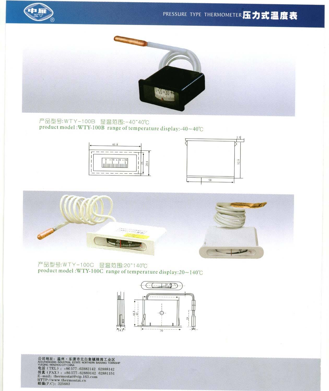 thermometer WTY-100B,WTY-100C