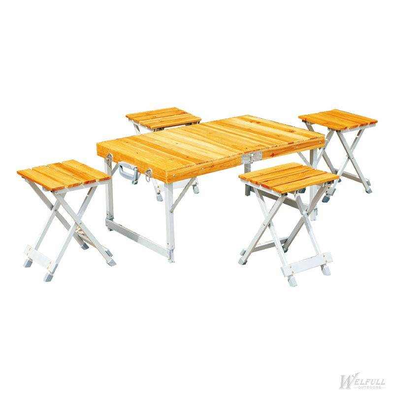 Outdoor FIR wooden picnic table set