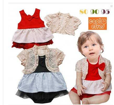 baby rompers in summer red and blue color for girls