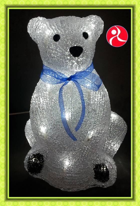 29cm 24V acrylic sitting bear with a blue bow animated christmas lights motif With CE rohs certifica