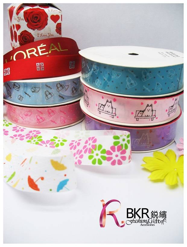 printed ribbons of nylon, polyester and stain materials