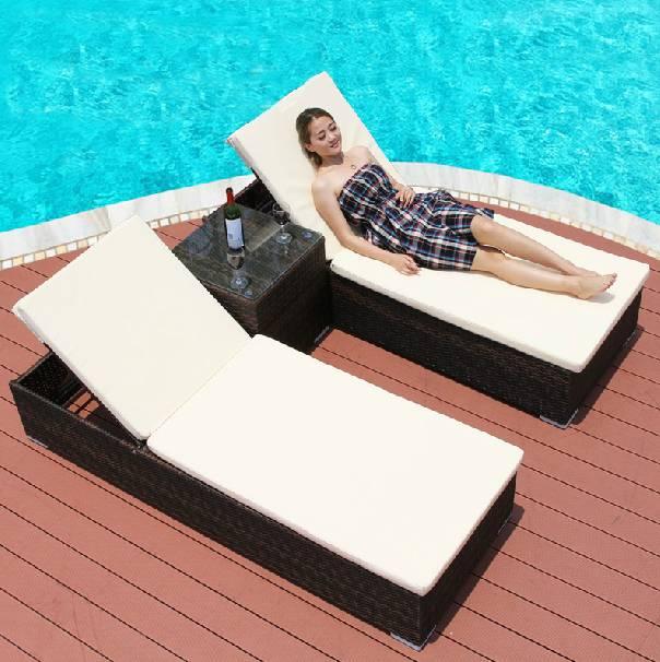 Double rattan Sun lounger chaise lounge cushion with tea table
