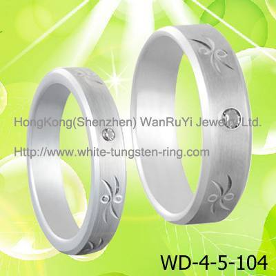 White CZ inlay White Tungsen Wedidng Ring