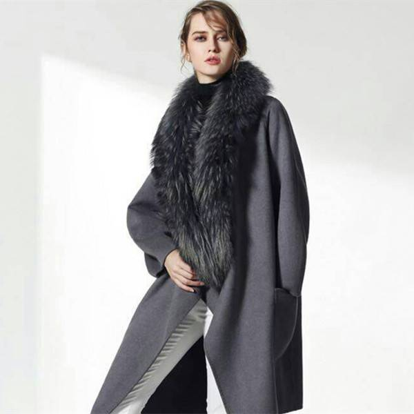 Natural Winter Dress Women's Genuine Real Raccoon Fur Collar Trimming
