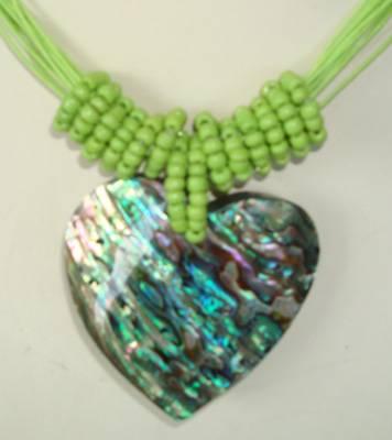 Paua shell heart necklace