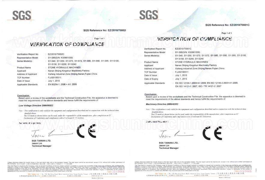 CE Certification Of Our Stone Hydraulic Splitting Machine And Stone Stamping Machine