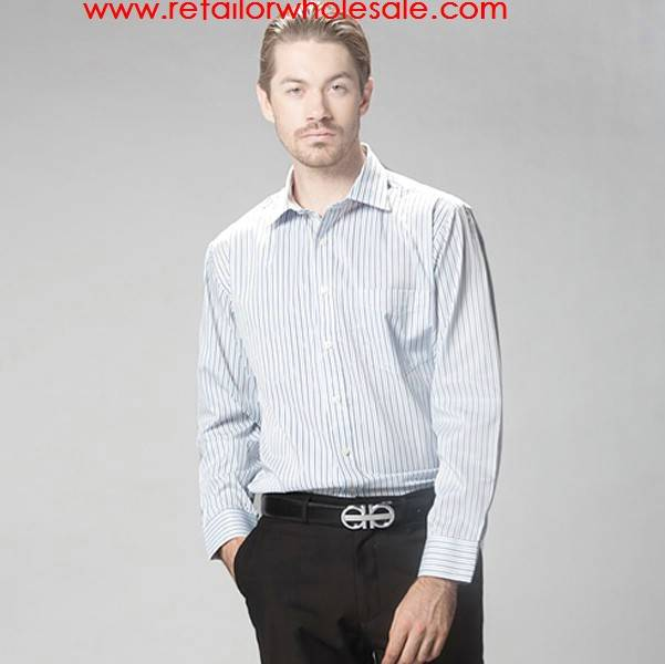 Wholesale Men Classic Collar No-Iron Blue Strip Style Business Shirt 38/39/40/41/42/43/44