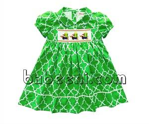 Cute dog and gift hand smocked dress for little girls