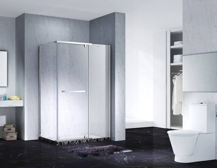 Neo-Angle Hinged Semi Frameless Diamond Shape Shower Enclosure With Pivot Door, AB 3231