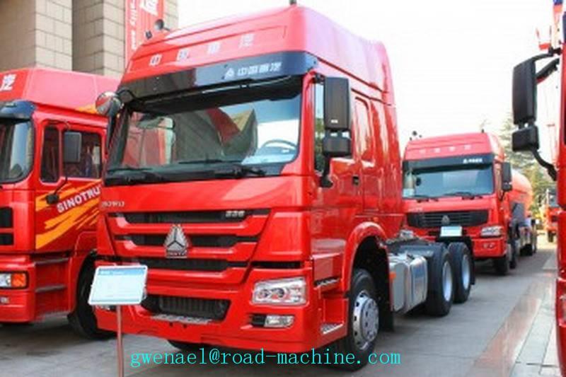 Prime Mover Truck Sinotruk Howo 6X4 371HP , Unloading Trucks Energy-Saving
