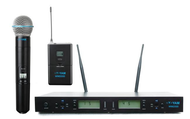 Yam Wm2000 Dual Channels Wireless Microphone UHF Wireless System
