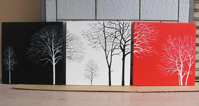 wholesale 3 panel black, white, and red tree oil handmade decorative art