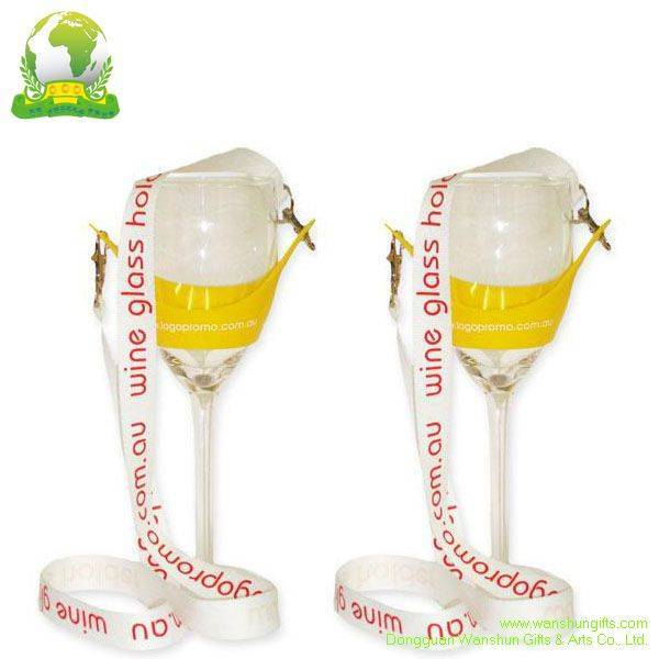 Selling Wine glass Holder Lanyards with Silk Screen Printing Lanyards