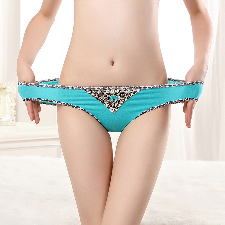 Sexy Lepoard Printing trim Lingerie High Cut Ladies Brief Breathable Cotton Women's Panties