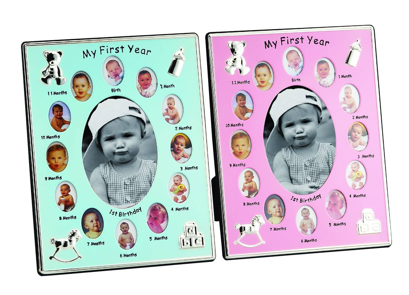 Sell Silver-plated Photo Frames, Available in Blue or Pink, Measures 8 x 10 Inches