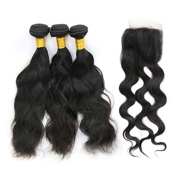 9A Brazilian Natural Wave Human Virgin Hair Weave 3 Bundles With Lace Closure
