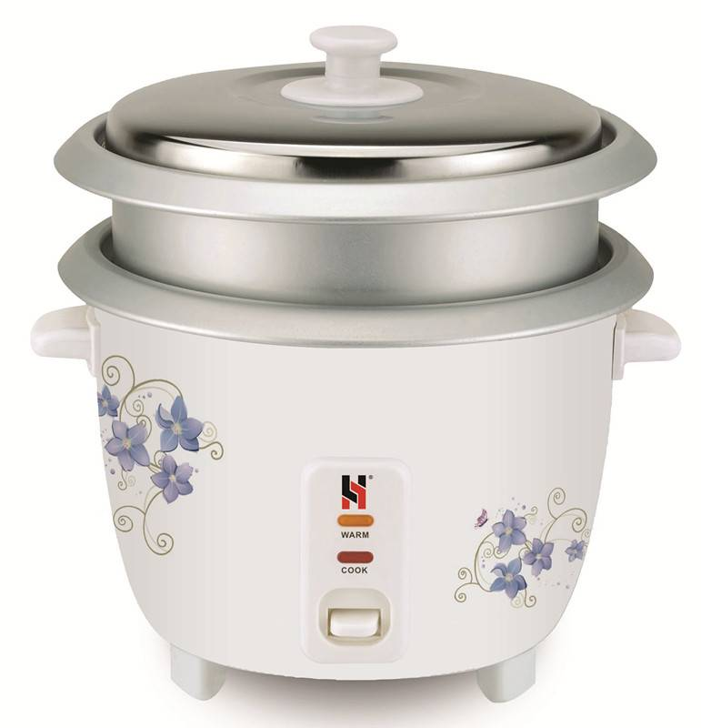 Drum rice cooker with double inner pot