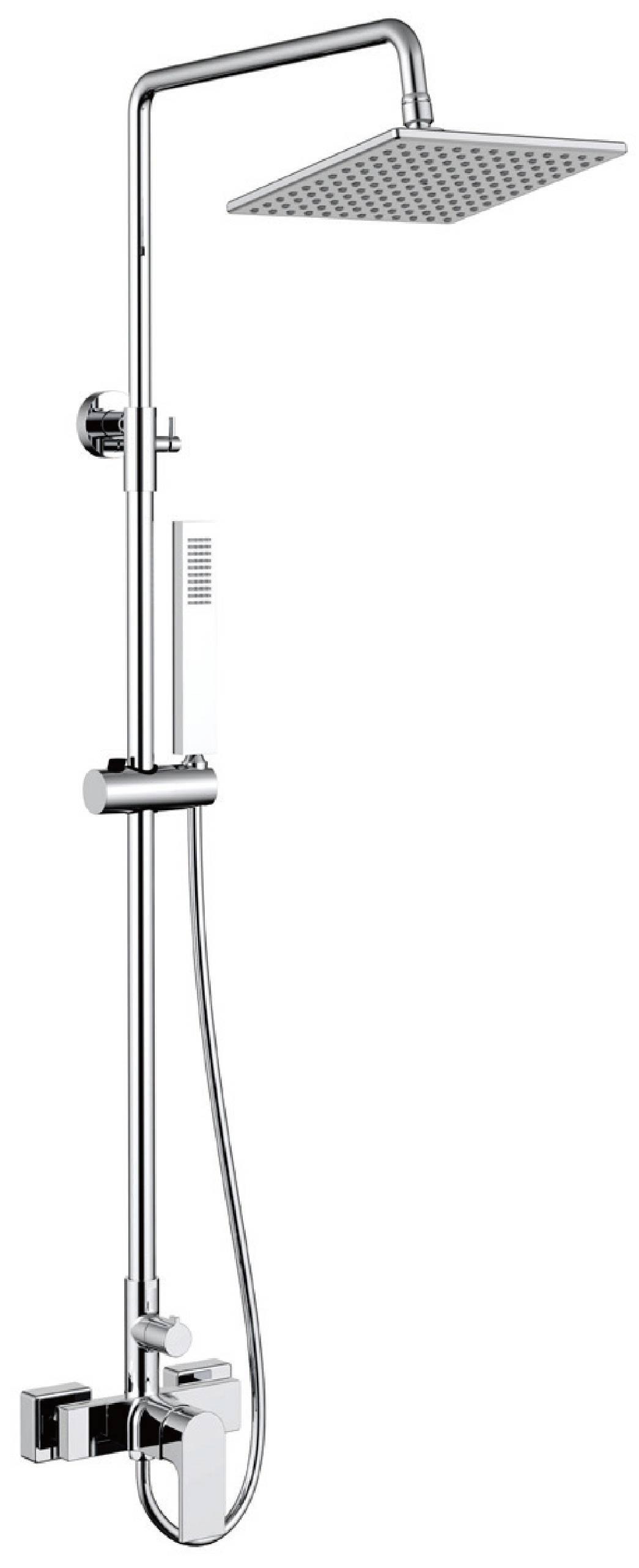 Contemporary chrome brass exposed bathroom shower set