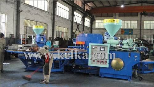 AUTOMATIC ROTARY THREE COLOR INJECTION MOLDING MACHINE