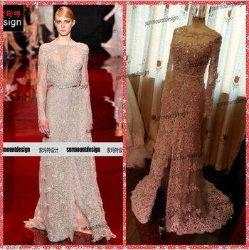 Surmount Real Sample Long Sleeve Lace Beaded Floor Length Fabric Elie Saab Dresses for Sale
