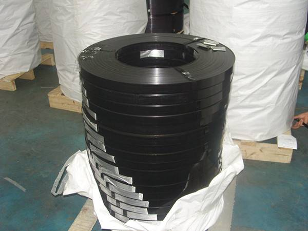 black painted steel strapping band
