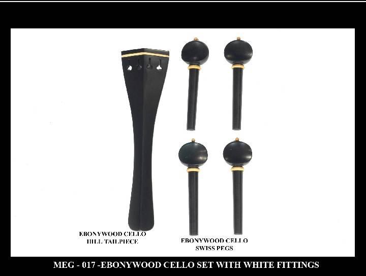 Ebonywood Cello Set with White fittings.