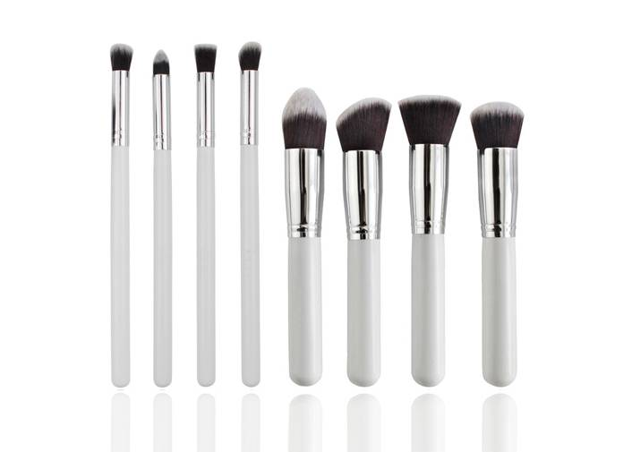 8pieces Bronzer Makeup Brush With Silver Metal Ferrule Normal Synthetic Hair