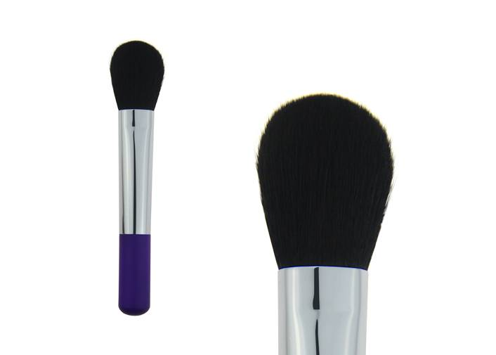 Contour Blush Brush With Bulb Shape Nylon Hair Short Plastic Handle Metal Ferrule