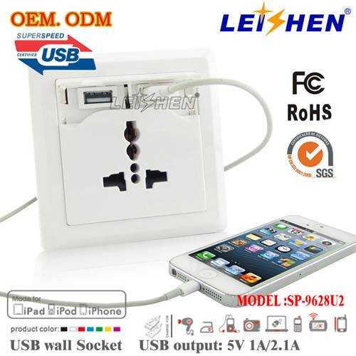 usb wall socket usa type with CE ROHS FCC certificate