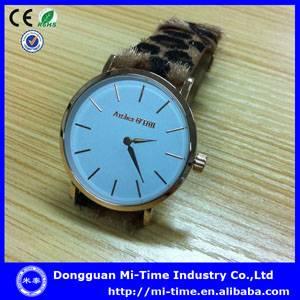 Fashion 2014 japan quartz movt thin leather watch factory china