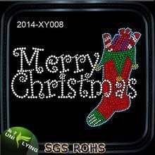 Hotfix Christmas Stocking Crystal Rhinestone Transfer